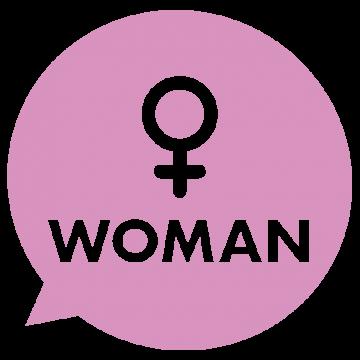 女性マークの吹き出しのイラスト