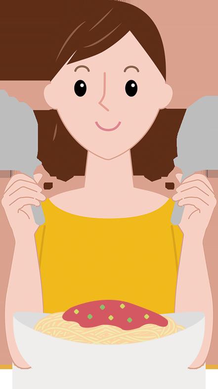 フォークとスプーンを使ってパスタを食べるまどかのイラスト