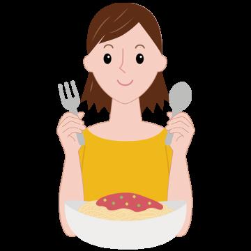 パスタを食べるまどかのイラスト