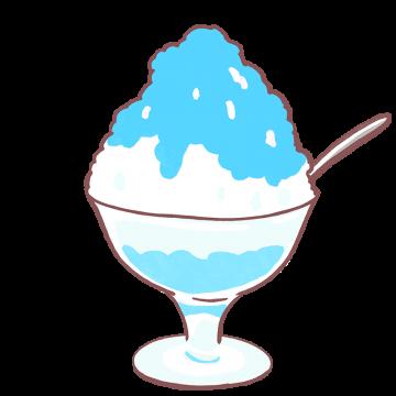 ブルーハワイシロップのかき氷イラスト