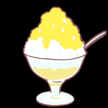 レモンシロップのかき氷イラスト
