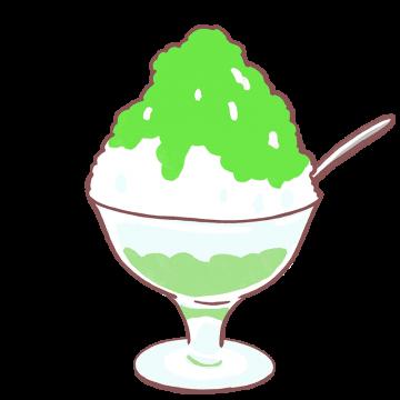 メロンシロップのかき氷イラスト