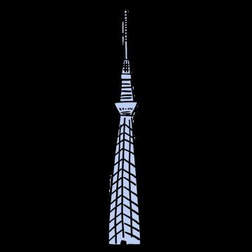 東京スカイツリーの手描きイラスト