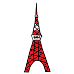 東京タワーの手描きイラスト