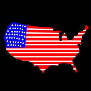 国旗模様のアメリカ地図のイラスト