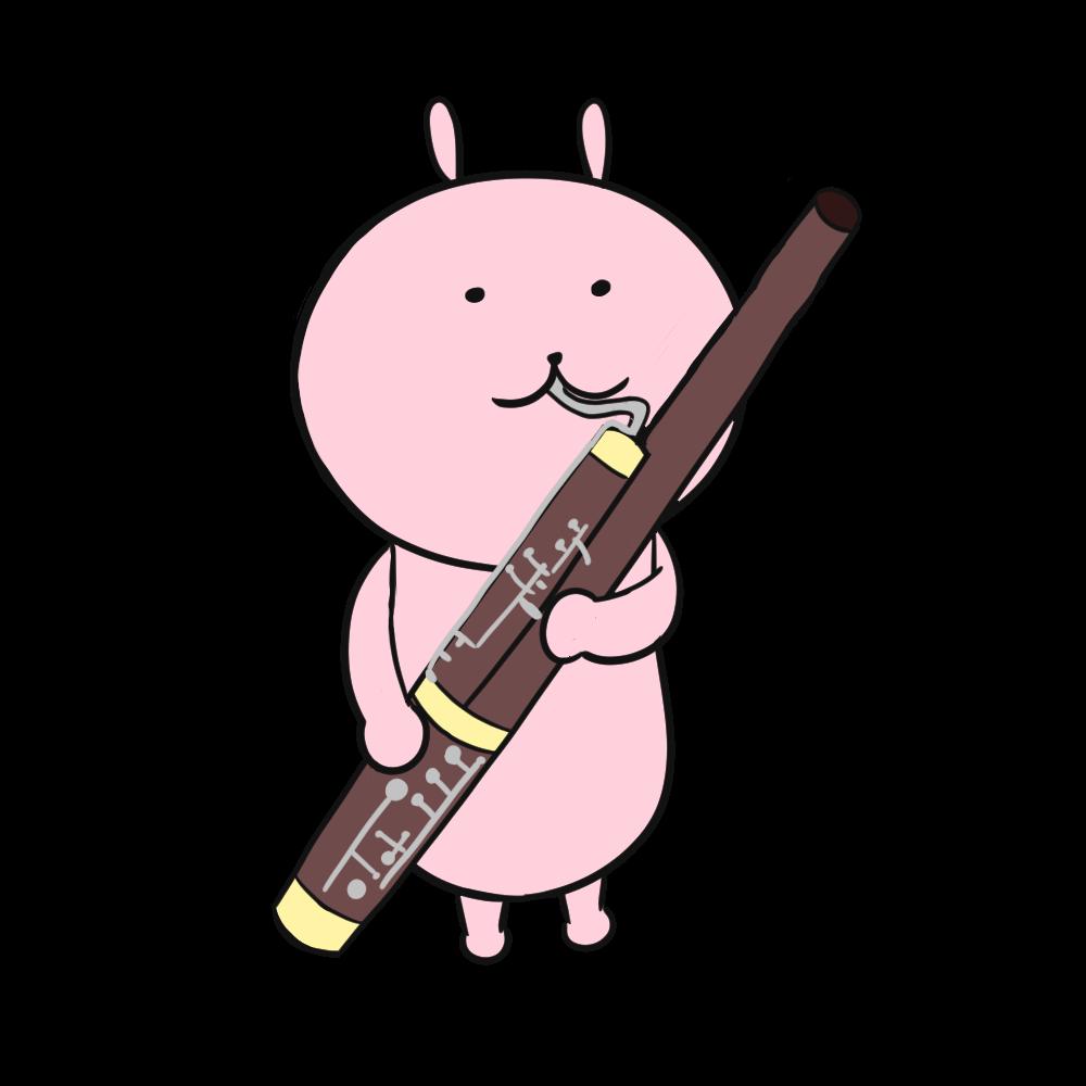 ファゴットを吹くうさぎのイラスト