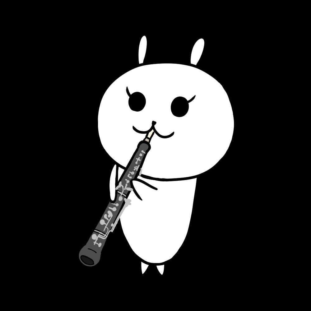 オーボエを吹くうさぎのイラスト