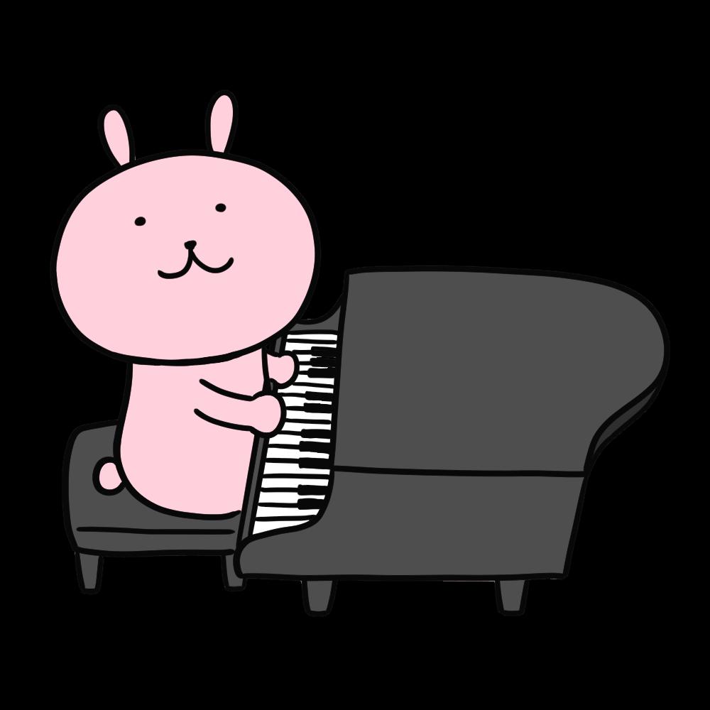 ピアノを弾くうさぎのイラスト