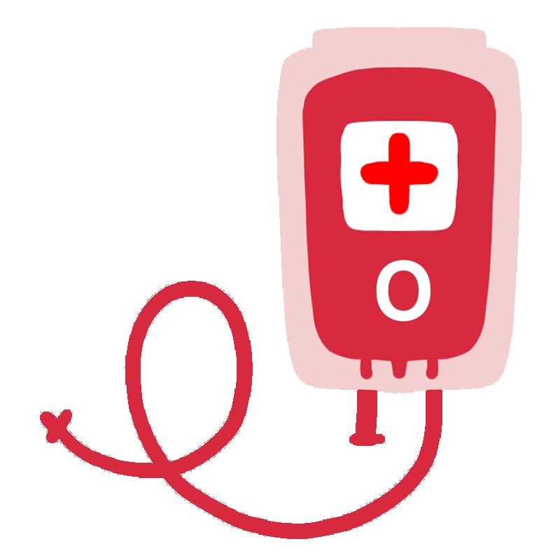 輸血パックのイラスト(O型)