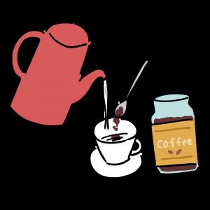 インスタントコーヒーを入れているイラスト