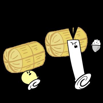 米俵を持って走るイラスト