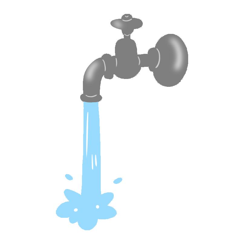 蛇口から水が勢いよく出るイラスト
