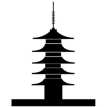 五重塔の塔のシルエットのイラスト