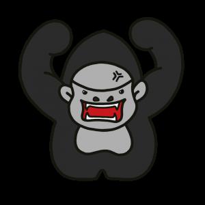 シルバーバックゴリラが怒っている表情のイラスト