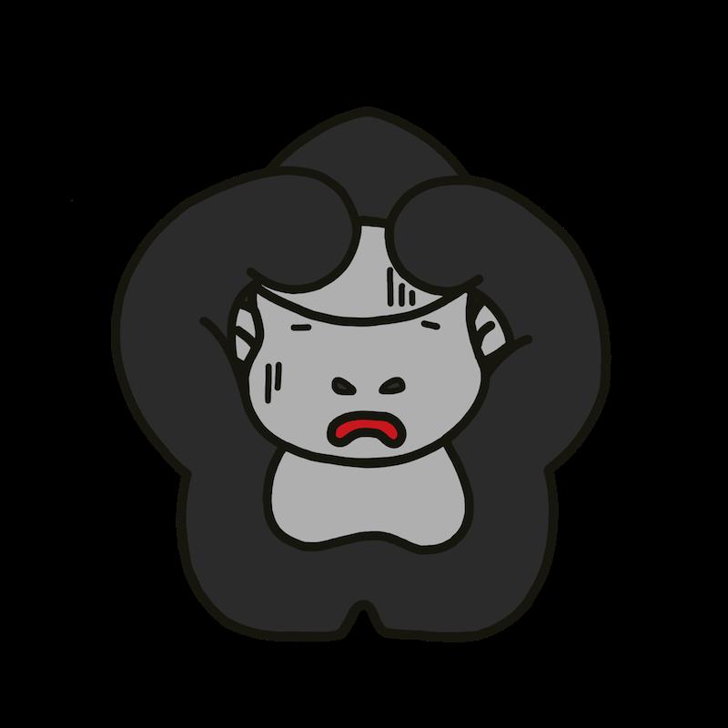 シルバーバックゴリラが困っている表情のイラスト