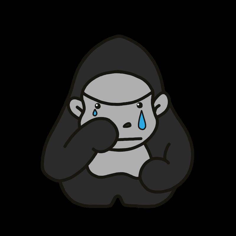 シルバーバックゴリラが泣いている表情のイラスト