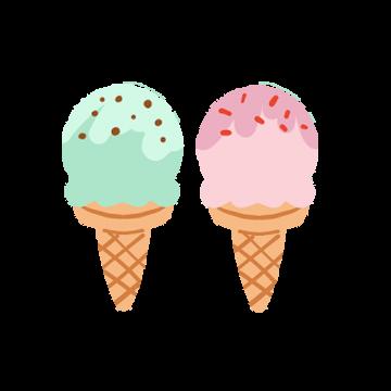 2つ並んだソフトクリームのイラスト