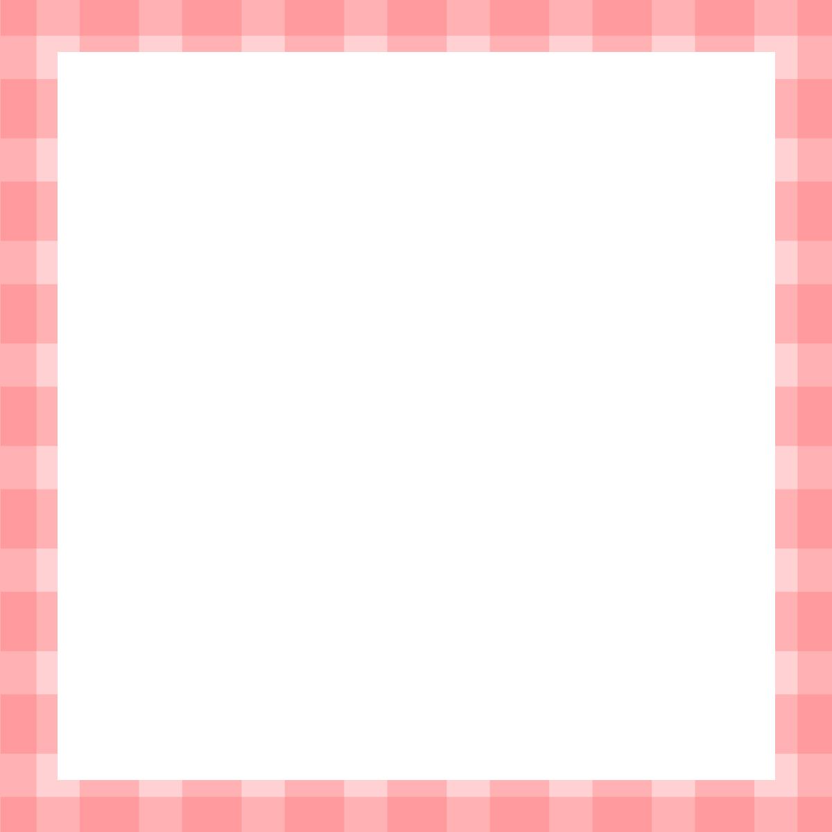 【Instagram用】のピンクチェックの背景フレームのイラスト