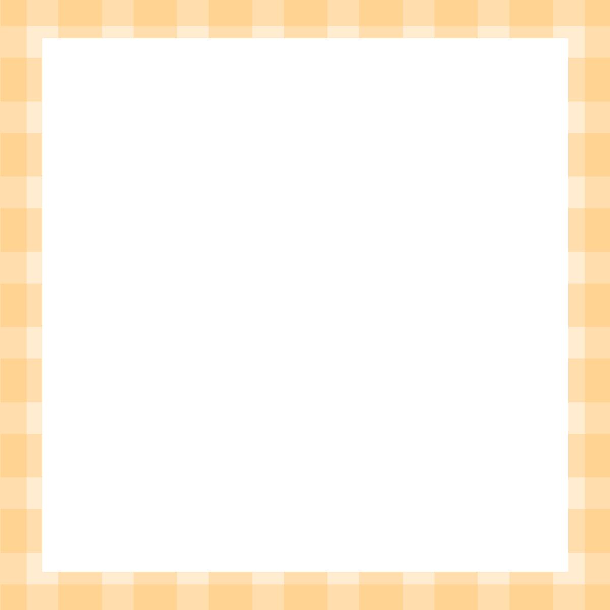 【Instagram用】黄色チェックの背景フレームのイラスト