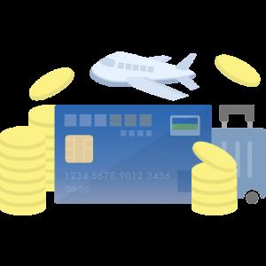 MileagePlusセゾンカード風のクレジットカードとマイルが貯まるイラスト