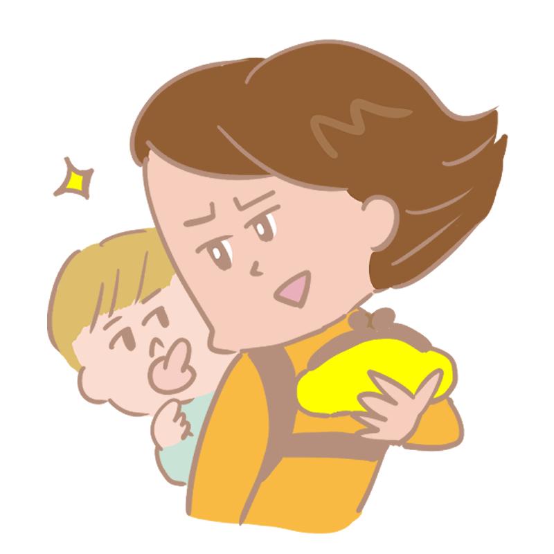 赤ちゃんをおんぶして買い物に出かけようとするお母さんのイラスト