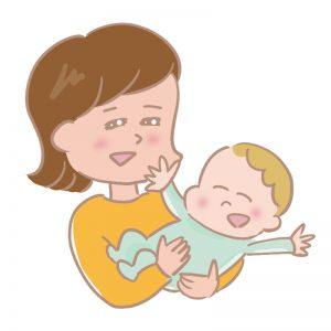赤ちゃんをあやすお母さんのイラスト