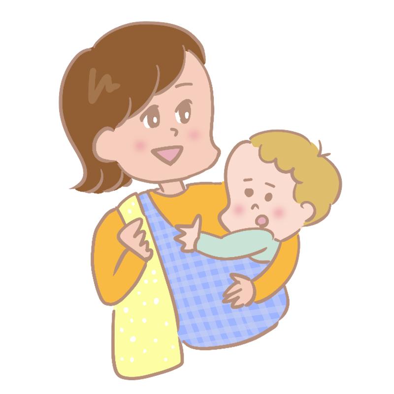 スリングで赤ちゃんを抱っこするお母さんのイラスト