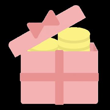 コインの入ったピンク色のプレゼントボックスのイラスト