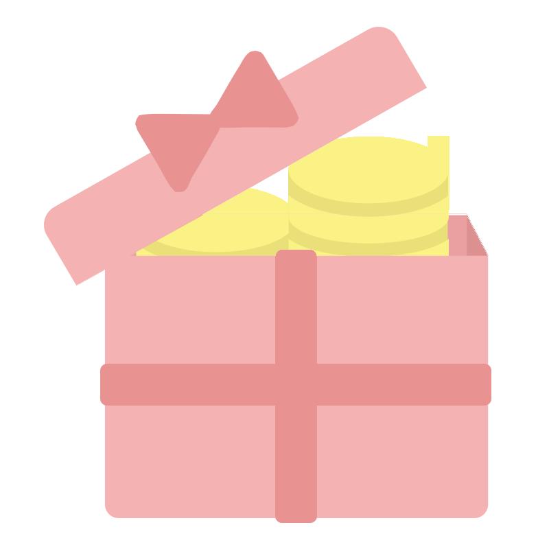 ピンク色のコインの入ったプレゼントボックスのイラスト