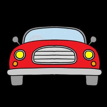 正面から見た赤いオープンカーのイラスト