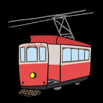 レトロなチンチン電車のイラスト