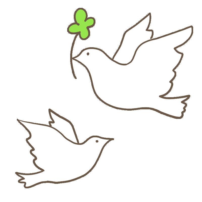 四つ葉のクローバーを持った、2羽の白いハトのイラスト