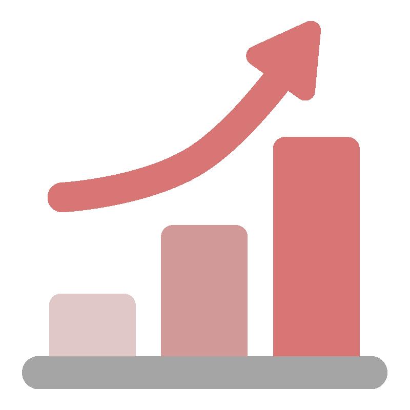 上昇する矢印付きグラフのアイコン