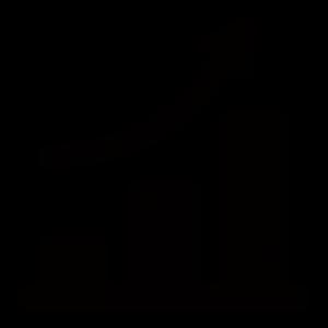 上昇する矢印付きグラフのシルエットアイコン