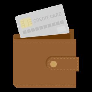 財布からクレジットカードが出ている様子のイラスト