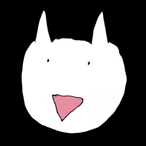 ヘタウマな白い犬のイラスト