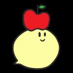 頭にりんごをのせているキャラクラーのイラスト