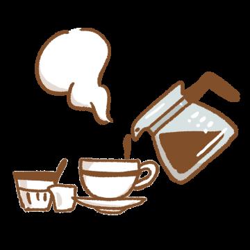 コーヒーを注いでいるイラスト
