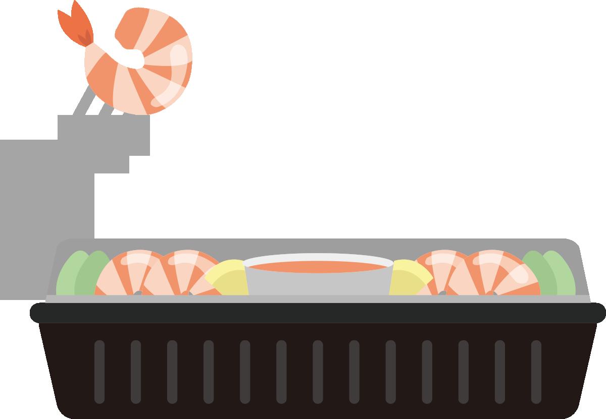 横から見たコストコ風のシュリンプカクテルのイラスト