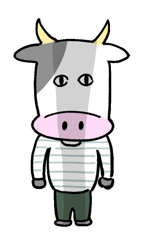 暗い感情になっている人っぽい牛のイラスト