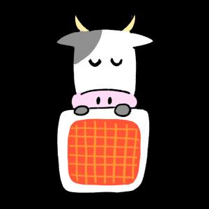 お布団で眠る人みたいな牛のイラスト