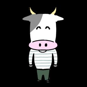 ほほえむ人っぽい牛のイラスト