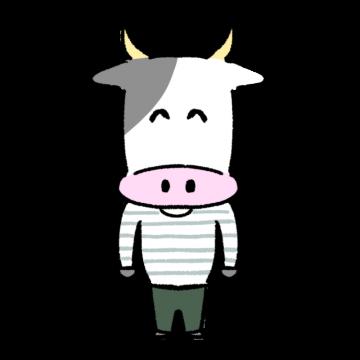 ほほえむ牛のイラスト