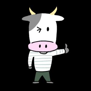 サムズアップする男性風の牛のイラスト