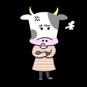 怒る女性風の牛のイラスト