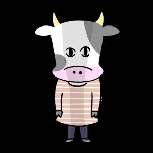暗い感情になっている女性風の牛のイラスト