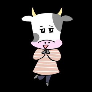 よろこぶ女性風の牛のイラスト