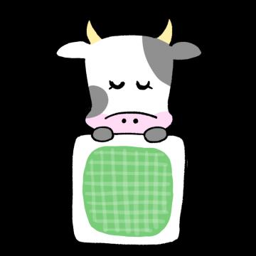 お布団で眠る女性風の牛のイラスト
