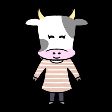 ほほえむ女性風の牛のイラスト