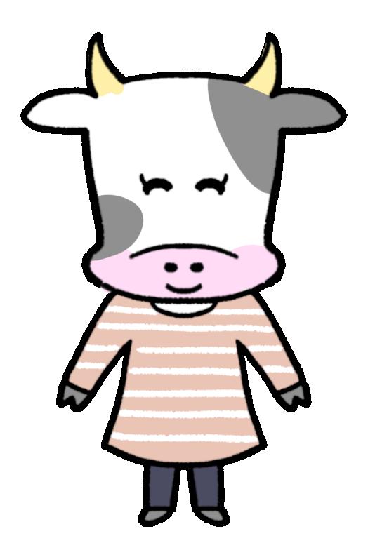 ほほえむ人みたいな牛のイラスト